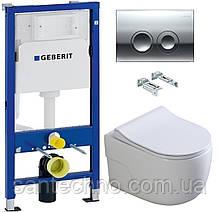 Комплект: Унитаз подвесной DUSEL VORTEX+Инсталляция GEBERIT+Панель смыва хром, круглые кнопки+сиденье
