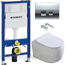 Комплект: Унитаз подвесной DUSEL VORTEX+Инсталляция GEBERIT+Панель смыва хром, квадратные кнопки+сиденье