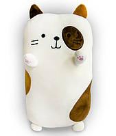 Мягкая игрушка-подушка в форме кота белый, 40х20х14 см, плюшевый кот для сна   м'яка іграшка кіт (ST)