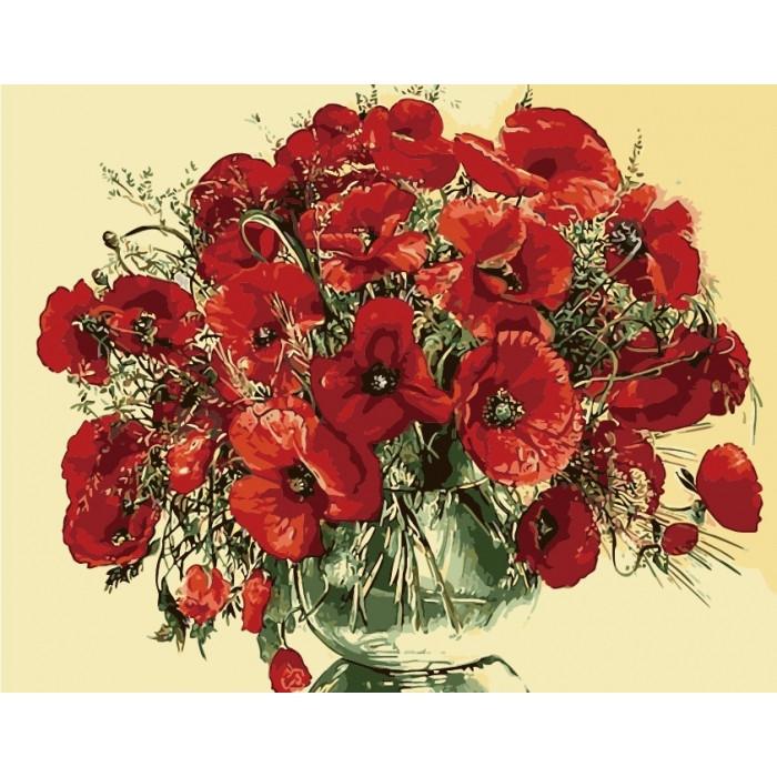 Картины по номерам 40×50 см. Идейка (без коробки) Красные маки в стеклянной вазе (КНО 1076)