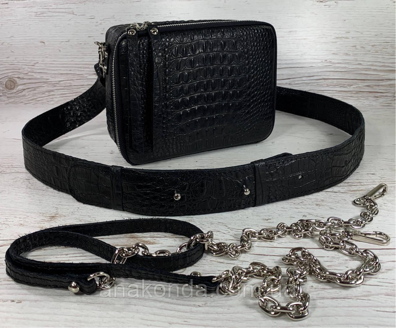 61-кр-2р Натуральная кожа Кросс-боди черная сумка женская через плечо 2ремня рептилия широкий ремень сумка