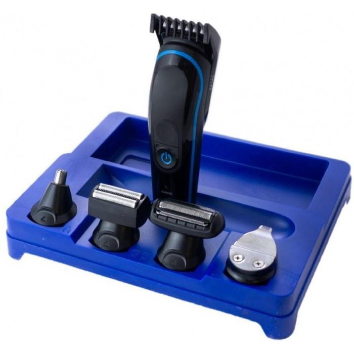 Бездротова машинка для стрижки, гоління, тример Gemei GM-563 5в1 Синій