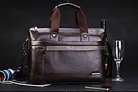 Мужская сумка-портфель Polo под формат А4. Коричневая    КС32