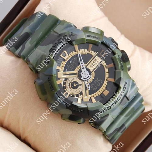 Популярные спортивные наручные часы Casio GA-110 Military/Gray/Gold 6050