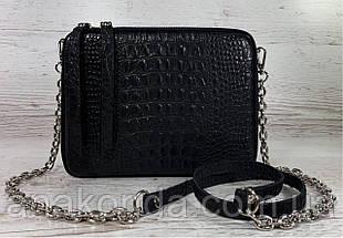 61-кр-2р Натуральная кожа Кросс-боди черная сумка женская через плечо 2ремня рептилия широкий ремень сумка, фото 2