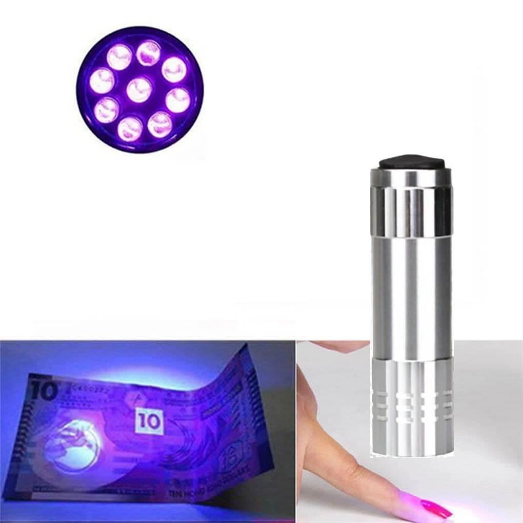 Алюминиевый УФ фонарик детектор пятен, купюр. Питание 3хААА. Серебро