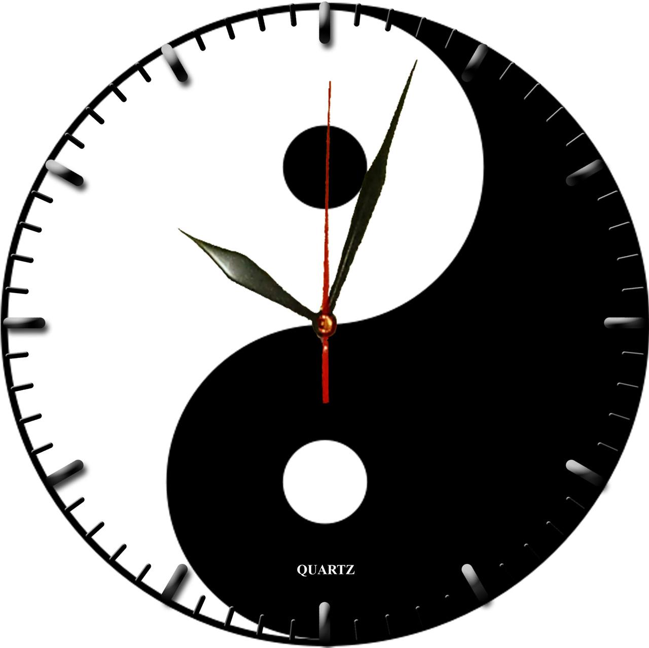 """настенные часы """"Инь и Ян"""" стеклянные кварцевые"""