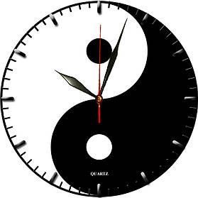 """Настінні годинники """"Інь і Ян"""" скляні кварцові"""