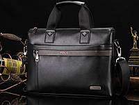 Мужская сумка-портфель Polo под формат А4. Черная   КС32-1