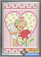 Схема для вышивки бисером - Детская вышивка - девочка и роза , Арт. ДБч5-8