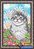Схема для вышивки бисером - Кот в цветах, Арт. ЖБп4-020