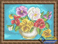 Схема для вышивки бисером - Цветы Анютины глазки в вазе, Арт. НБп4-45