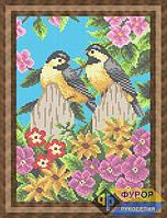 Схема для полной вышивки бисером - Птички синички на заборе в цветах, Арт. ЖБп4-30