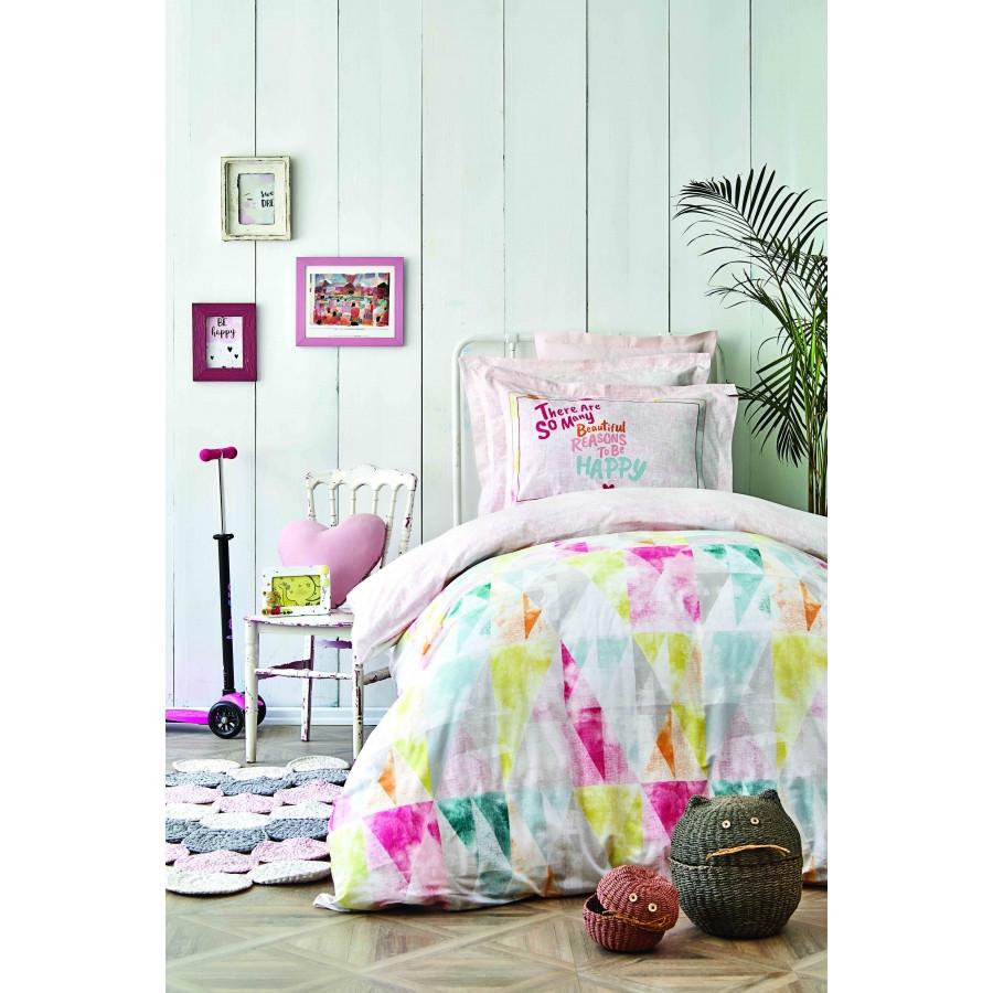 Постельное белье Karaca Home - Colirido pembe 2020-2 розовый ранфорс подростковое