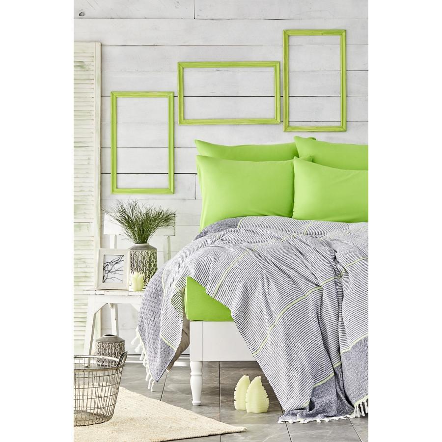 Постільна білизна Karaca Home - Rapsody yesil 2020-2 зелений pike jacquard 200*220 євро