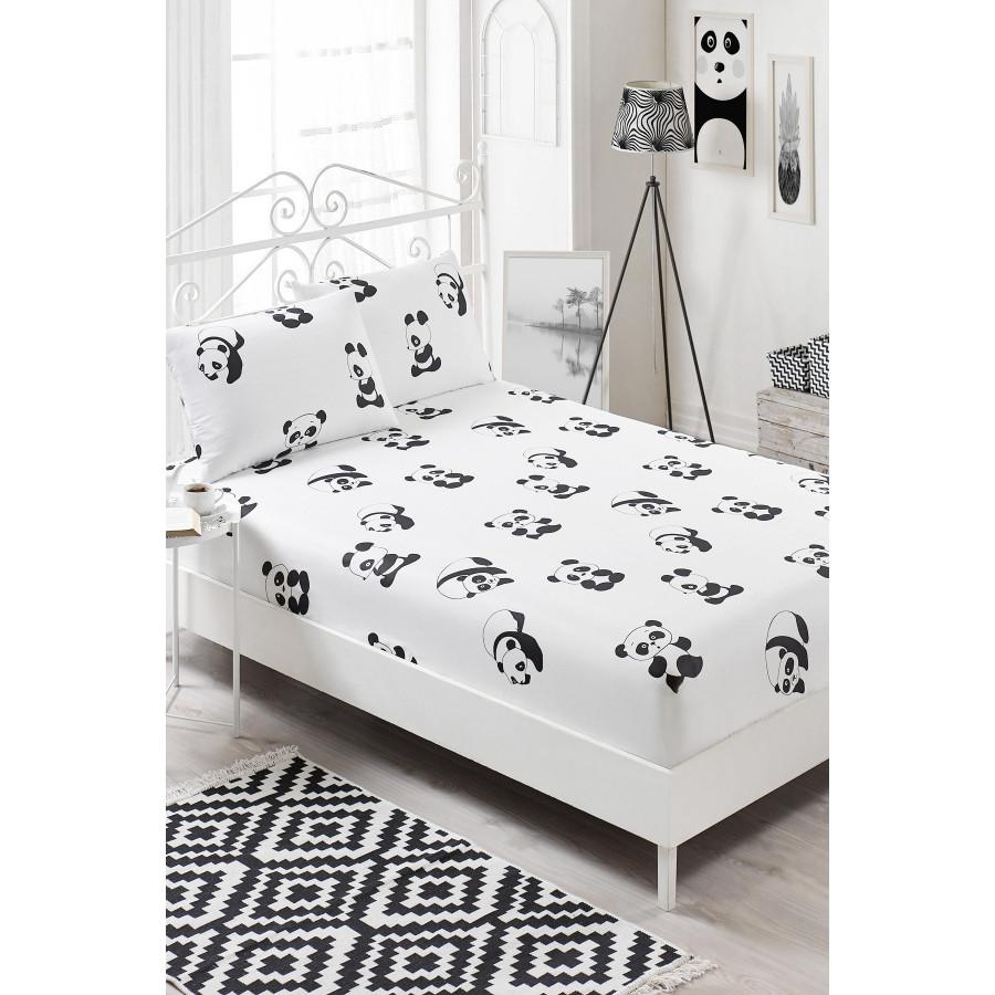 Простынь на резинке с наволочками Eponj Home B W - Panda 160*200