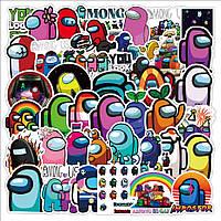 Стикеры Among Us 3 - 50 шт Амонг Ас Стикербомбинг, виниловые наклейки для: велосипеда, скейта, сноуборда