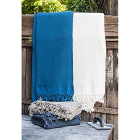 Плед-накидка Buldans - Bohem denim синий 130*180