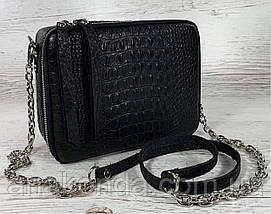 61-кр-2р Натуральная кожа Кросс-боди черная сумка женская через плечо 2ремня рептилия широкий ремень сумка, фото 3