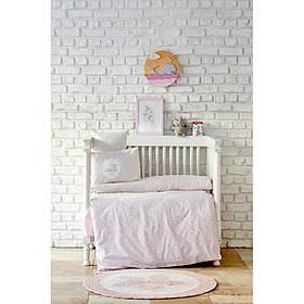 Дитячий набір в ліжечко для немовлят Karaca Home - Little pudra пудровий (7 предметів)