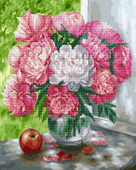 """Картина по номерам + Алмазная мозаика """"Бело-розовые пионы"""" ★★★★"""