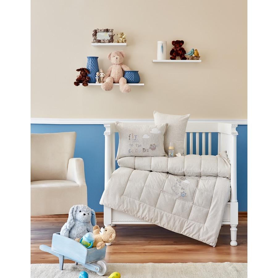 Дитячий набір в ліжечко для немовлят Karaca Home - Cloudy 2018-2 bej (4 предмета)