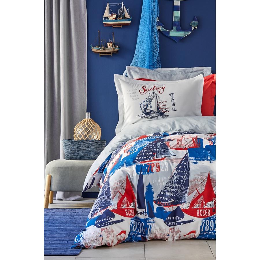 Постільна білизна Karaca Home - Hutson mavi 2019-2 блакитний ранфорс підліткове