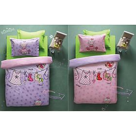 Постельное белье Karaca Home - Molly лилово-розовое стеганное ранфорс подростковое