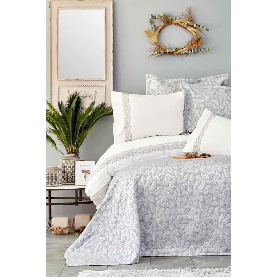 Набір постільна білизна з покривалом Karaca Home - Carolina gri сірий євро
