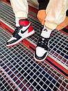 Мужские Кроссовки Air Jordan Retro 1 Black Red White, фото 2