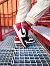 Мужские Кроссовки Air Jordan Retro 1 Black Red White, фото 4