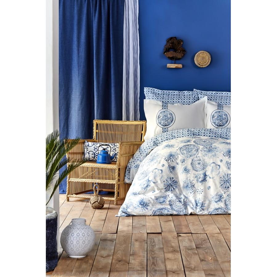 Постільна білизна Karaca Home - Felinda mavi блакитний піку 220*230 євро