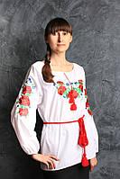 Великолепная блуза с вышитыми маками ,44,46,48
