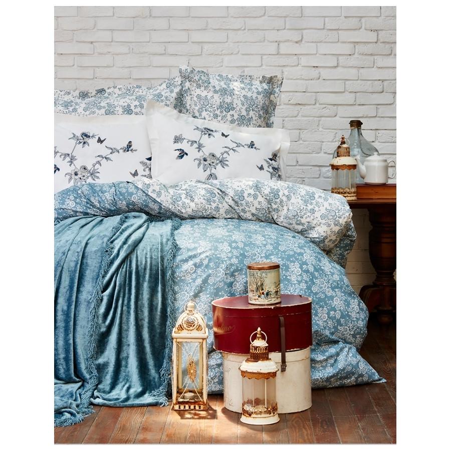 Набор постельное белье с покрывалом Karaca Home - Mathis turquise бирюзовый евро