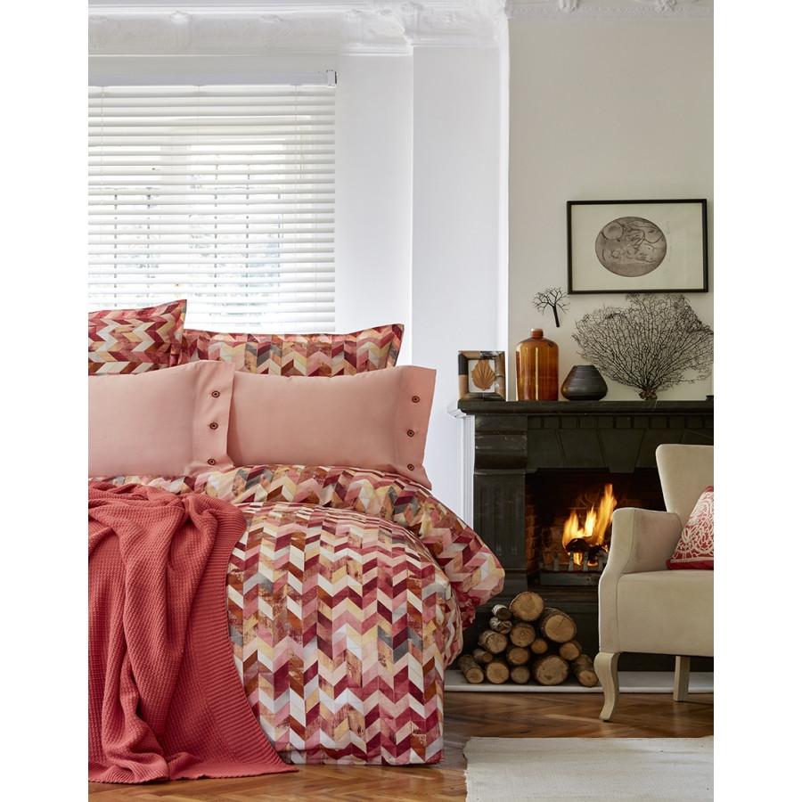 Набор постельное белье с пледом Karaca Home - Melange turuncu оранжевый евро