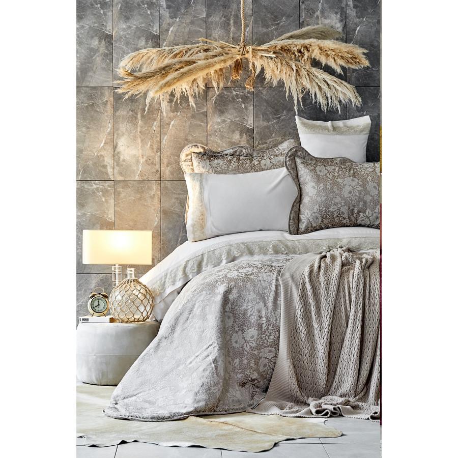 Набор постельное белье с покрывалом + плед Karaca Home - Ennea gold золотой евро (10)