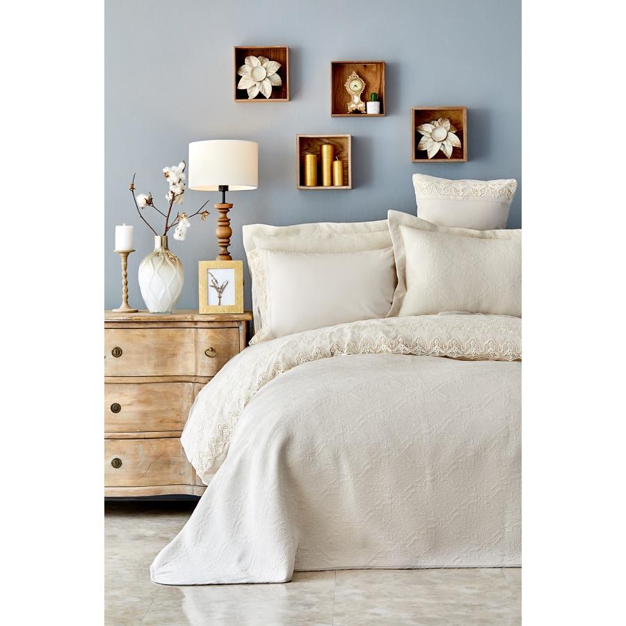 Набор постельное белье с покрывалом Karaca Home - Monomia bej бежевый евро