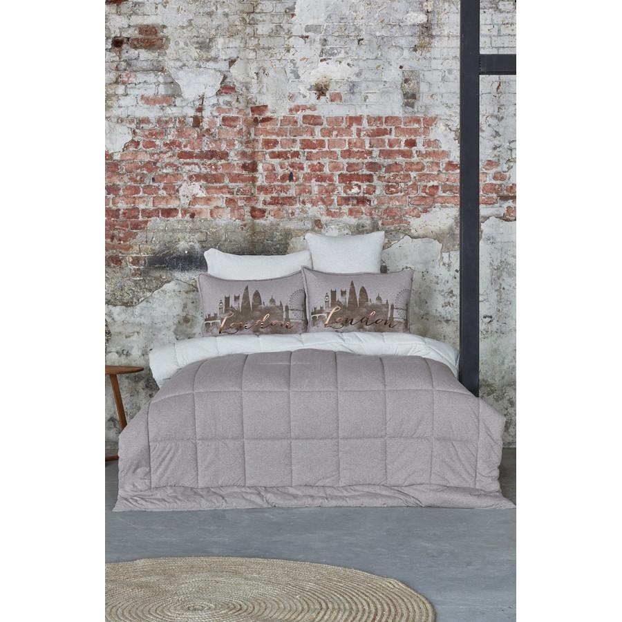Набор постельное белье с одеялом Karaca Home - Londra bej бежевый полуторный