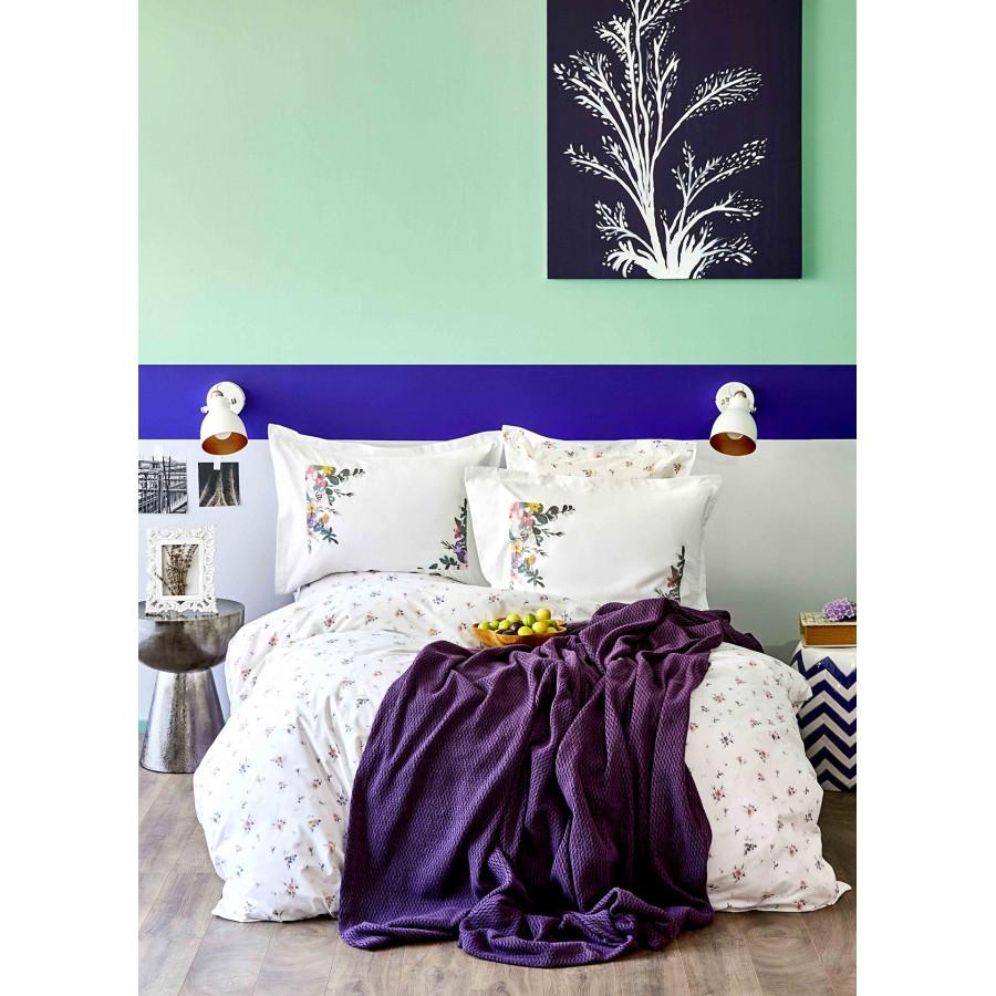 Набір постільна білизна з пледом Karaca Home - Fertile lila 2020-1 ліловий євро