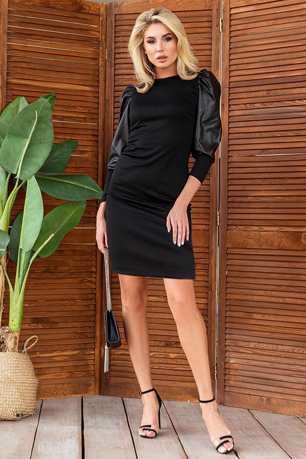 Черное платье из трикотажа, рукав эко кожа  42 - 48 размеры