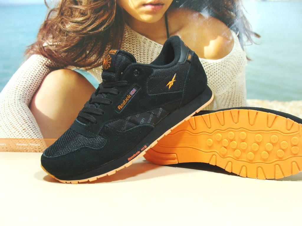 Чоловічі кросівки Reebok classic чорно-помаранчеві 43 р.
