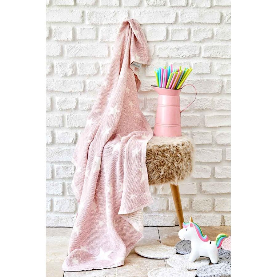 Детское покрывало пике Karaca Home - Baby star pembe розовый 80*120