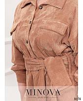 Красивая женская розовая удлиненная рубашка из бархата, больших размеров от 50 до 64, фото 3