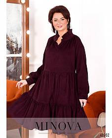Очаровательное платье  А-силуэта,  свободного кроя из вельвета, большой размер от 50 до 64