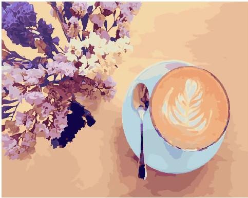 Картина по номерам 40х50 см Brushme Лавандовый кофе (GX 22206)