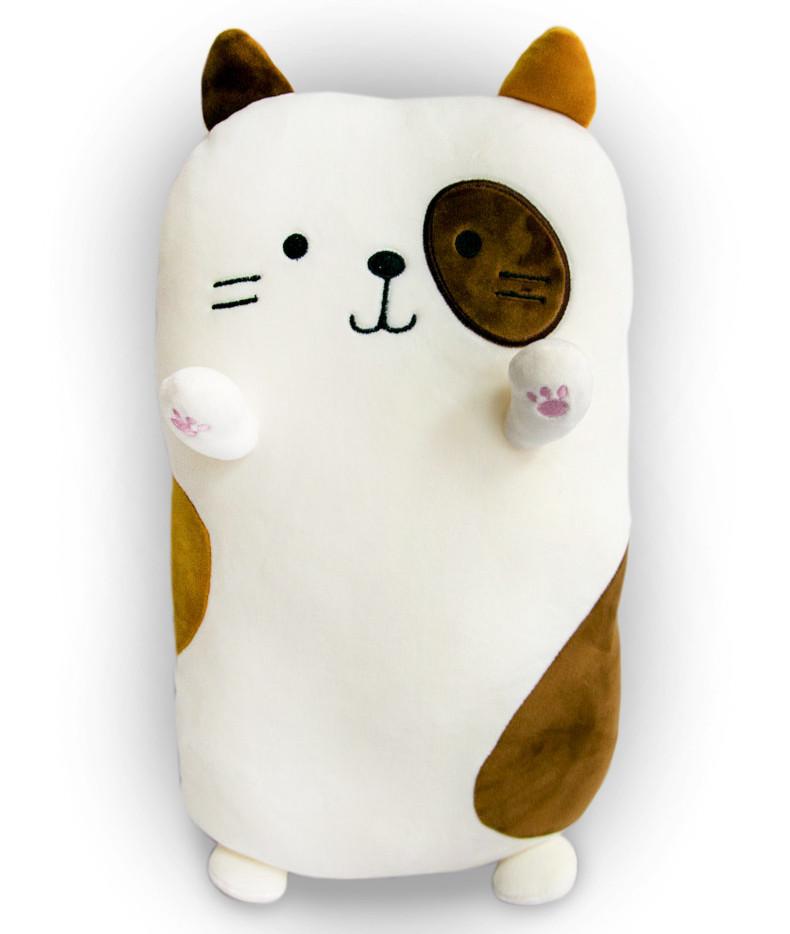 М'яка іграшка-подушка у формі кота білий, 40х20х14 см, плюшевий котик для сну | мягкая игрушка кот