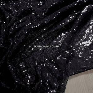 Тканина пайетка дрібна на сітці чорна