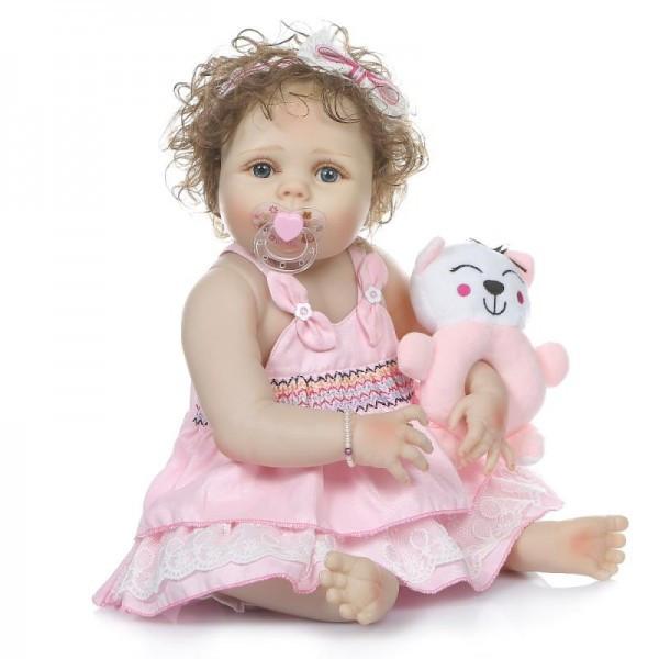 Силиконовая коллекционная кукла Reborn Doll Девочка Настенька 57 См (203)
