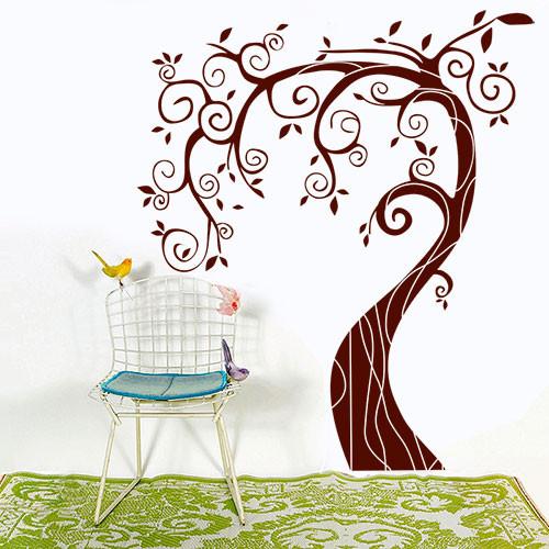 Интерьерная наклейка на обои Дерево с завитками (виниловые декоративные наклейки деревья, самоклеющаяся пленка