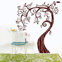 Интерьерная наклейка на обои Дерево с завитками (виниловые декоративные наклейки деревья, самоклеющаяся пленка, фото 1